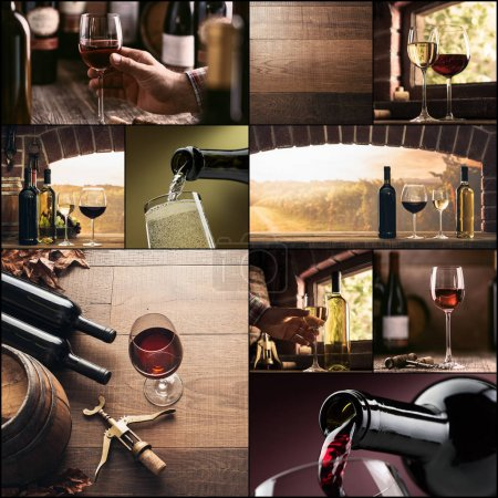 Wine tasting and winemaking photo collage