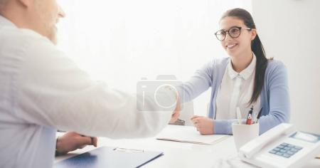 woman during successful job interview