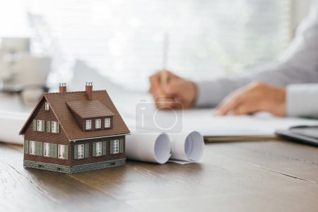 Professional architect working at office