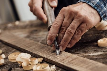 Professional carpenter at work