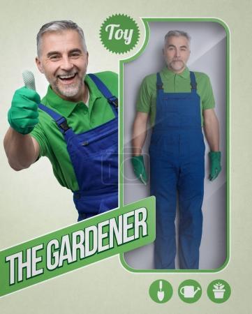 Lifelike male gardener doll