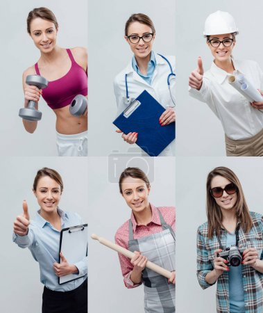 Collage of female smiling professional workers