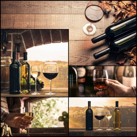 Winemaking and wine tasting photo collage: wine glasses and bottles, rustic cellar and vineyard, sommelier drinking excellent wines