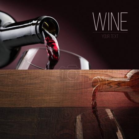 Excellent red wine tasting and celebration, banner set with copyspace