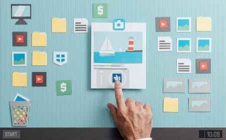 User sharing and liking pictures online using a photo sharing app, paper cut and collage composition
