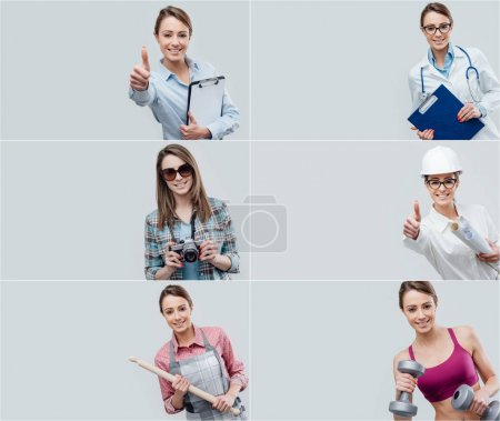 Collage of female smiling professional workers portraits, human resources and work concept
