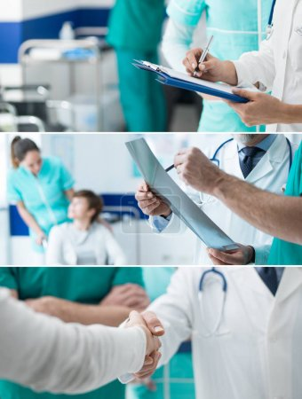 Medical staff working at the hospital, doctors examining medical records and meeting a patient, healthcare and medical exams banners set