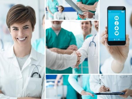 Smiling doctors working at the hospital and medical app on a touch screen smartphone, photo collage