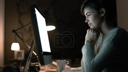 Woman watching videos online