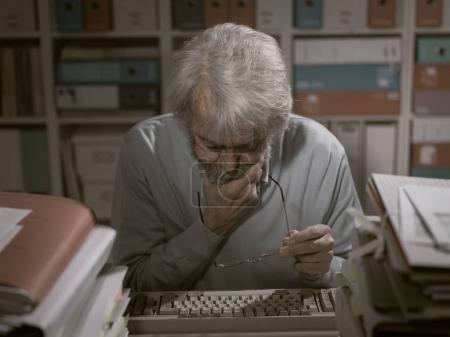 Office worker using a keyboard