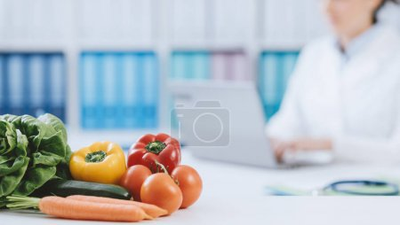 Professional nutritionist working in office