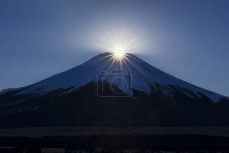 Fuji Daimond at Top of Fuji Mountain at Yamanakako Lake, Japan
