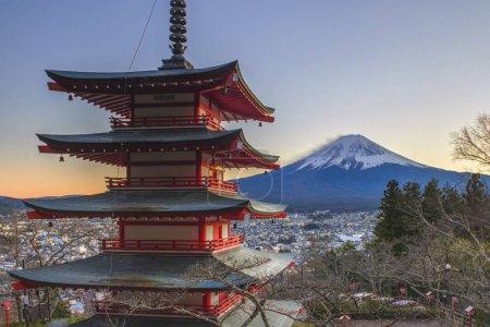 Churieto Pagda and Fuji Mountain in Sunset at Fujiyoshida , Japan
