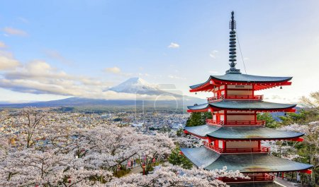 Chureito Pagoda and Fuji Mountain with Sakura Trees in Spring at Fujiyoshida, Japan