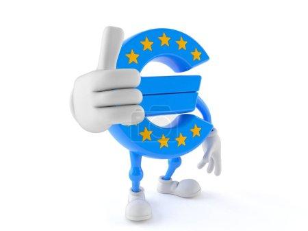 Photo pour Caractère euro avec pouce relevé isolé sur fond blanc - image libre de droit