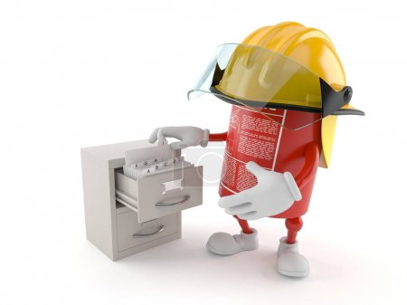 Fire extinguisher character with archive isolated ...