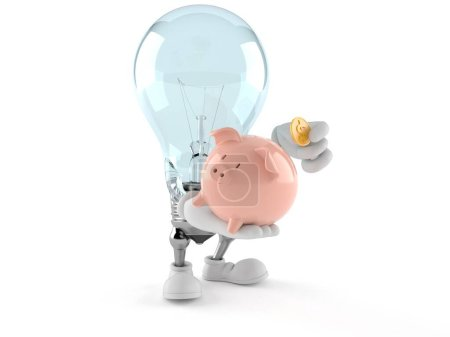 Photo for Light bulb character holding piggy bank isolated on white background. 3d illustration - Royalty Free Image