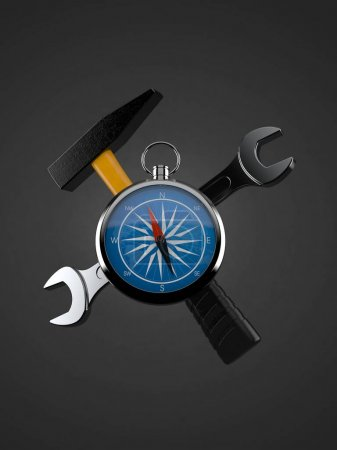 Photo for Compass with work tools on grey background. 3d illustration - Royalty Free Image