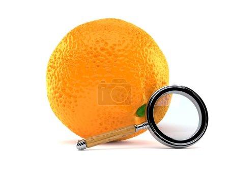 Photo pour Orange avec loupe isolée sur fond blanc. Illustration 3d - image libre de droit