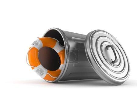 Photo pour La bouée de sauvetage à l'intérieur des ordures peut être isolée sur fond blanc. Illustration 3d - image libre de droit