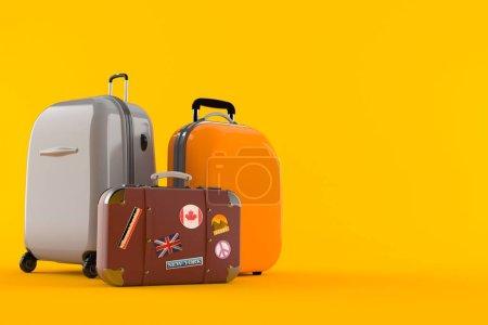 Photo pour Bagages isolés sur fond orange. Illustration 3d - image libre de droit