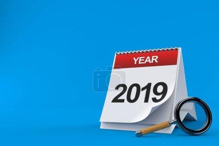 Photo pour 2019 Calendrier avec loupe isolée sur fond bleu. Illustration 3d - image libre de droit