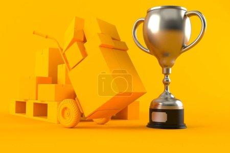 Photo pour Livraison en arrière-plan avec trophée de couleur orange. Illustration 3d - image libre de droit