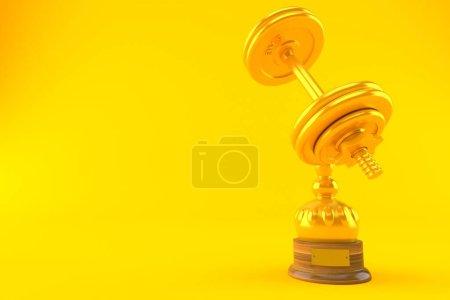 Photo pour Trophée de campagnol isolé sur fond orange. Illustration 3d - image libre de droit