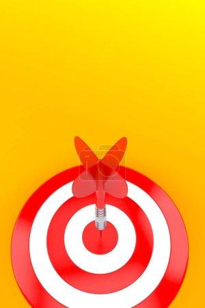 Photo for Bull's eye on orange background. 3d illustration - Royalty Free Image