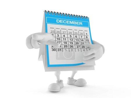 Photo pour Le doigt pointé sur le calendrier est isolé sur fond blanc. Illustration 3d - image libre de droit