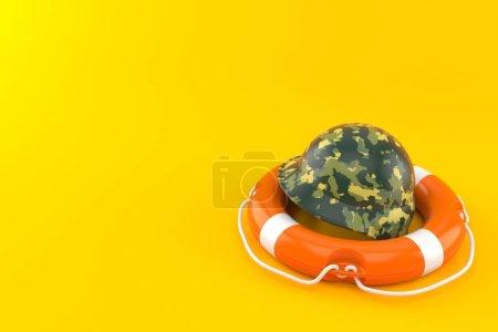 Photo pour Casque militaire à l'intérieur d'une bouée de sauvetage isolée sur fond orange. Illustration 3d - image libre de droit