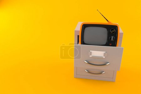 Photo for Old TV inside archive isolated on orange background. 3d illustration - Royalty Free Image