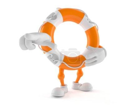 Photo pour Le doigt pointant vers la bouée de sauvetage est isolé sur fond blanc. Illustration 3d - image libre de droit