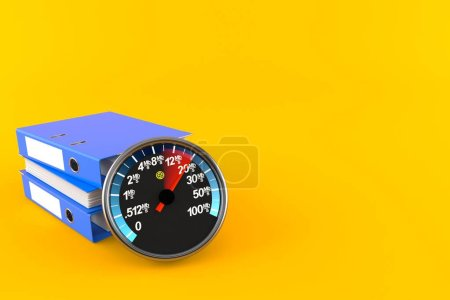 Photo pour Compteur réseau avec reliure à anneaux isolée sur fond orange. Illustration 3d - image libre de droit
