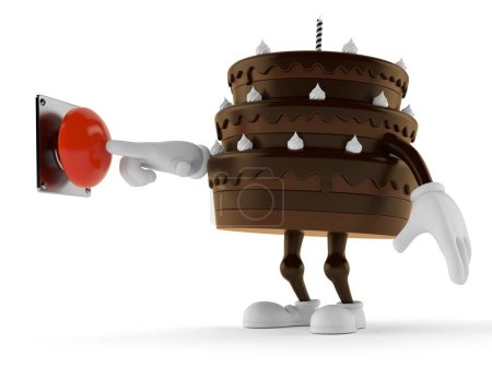 Photo for Cake character pushing button isolated on white background. 3d illustration - Royalty Free Image