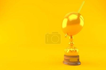 Photo pour Trophée flottant de pêche isolé sur fond orange. Illustration 3d - image libre de droit