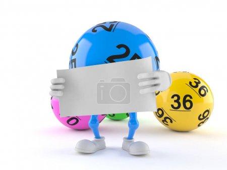 Photo pour Caractère bille de lotto tenant une feuille de papier vierge isolée sur fond blanc. Illustration 3d - image libre de droit