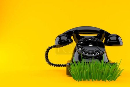 Photo pour Téléphone sur gazon isolé sur fond orange. Illustration 3d - image libre de droit