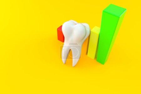 Photo pour Dent avec diagramme isolé sur fond orange. Illustration 3d - image libre de droit