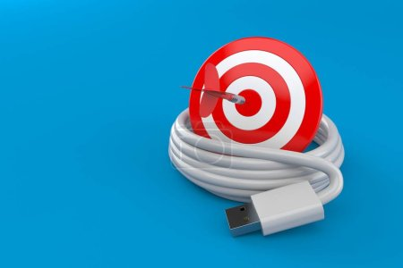 Photo for Reel of USB cable with bull's eye isolated on blue background. 3d illustration - Royalty Free Image