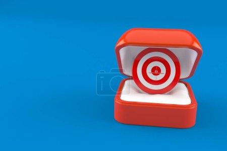 Photo for Bull's eye inside engagement ring box isolated on blue background. 3d illustration - Royalty Free Image