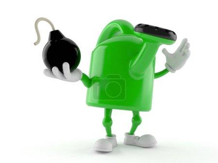 Photo pour Un personnage peut arroser en tenant une bombe isolée sur fond blanc. Illustration 3d - image libre de droit