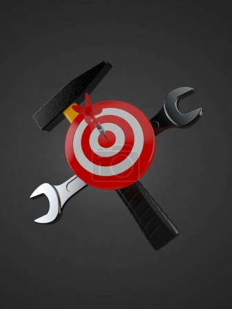 Photo for Bull's eye with work tools on grey background. 3d illustration - Royalty Free Image