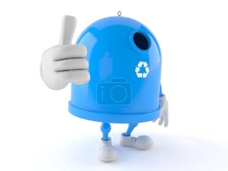 Photo pour Le personnage de la corbeille de recyclage avec les pouces vers le haut est isolé sur fond blanc. Illustration 3d - image libre de droit