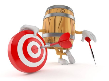 Photo for Cask character with bull's eye isolated on white background. 3d illustration - Royalty Free Image