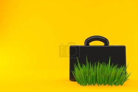 Photo pour Valise sur herbe isolée sur fond orange. Illustration 3d - image libre de droit