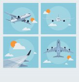 Set of vintage flying poster