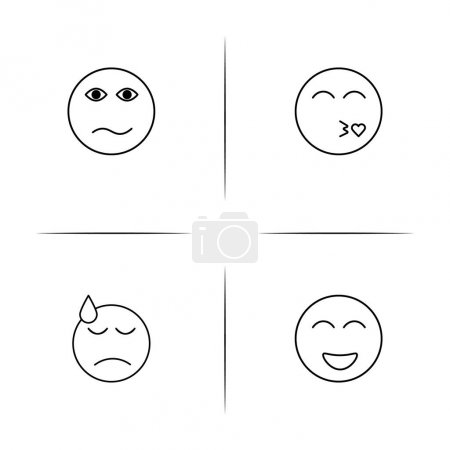 Emoticons simple linear icons set. Outlined vector icons