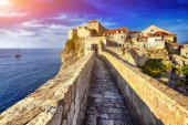 Panorama Dubrovnik Old Town roofs at sunset. Europe, Croatia