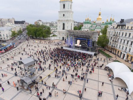 Photo for KYIV, UKRAINE - APRIL 30, 2017: Aerial view  of Eurovision song contest  fan zone on Sofiivska Square in Kyiv, Ukraine - Royalty Free Image